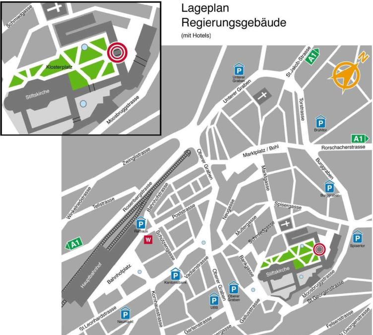 Anfahrtsplan Kantonsratssaal St.Gallen